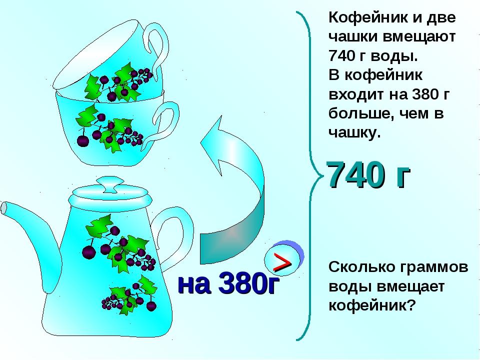 Кофейник и две чашки вмещают 740 г воды. В кофейник входит на 380 г больше, ч...