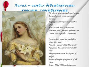 Лилия – символ девственности, красоты, царственности Подобна лилии крылатой,
