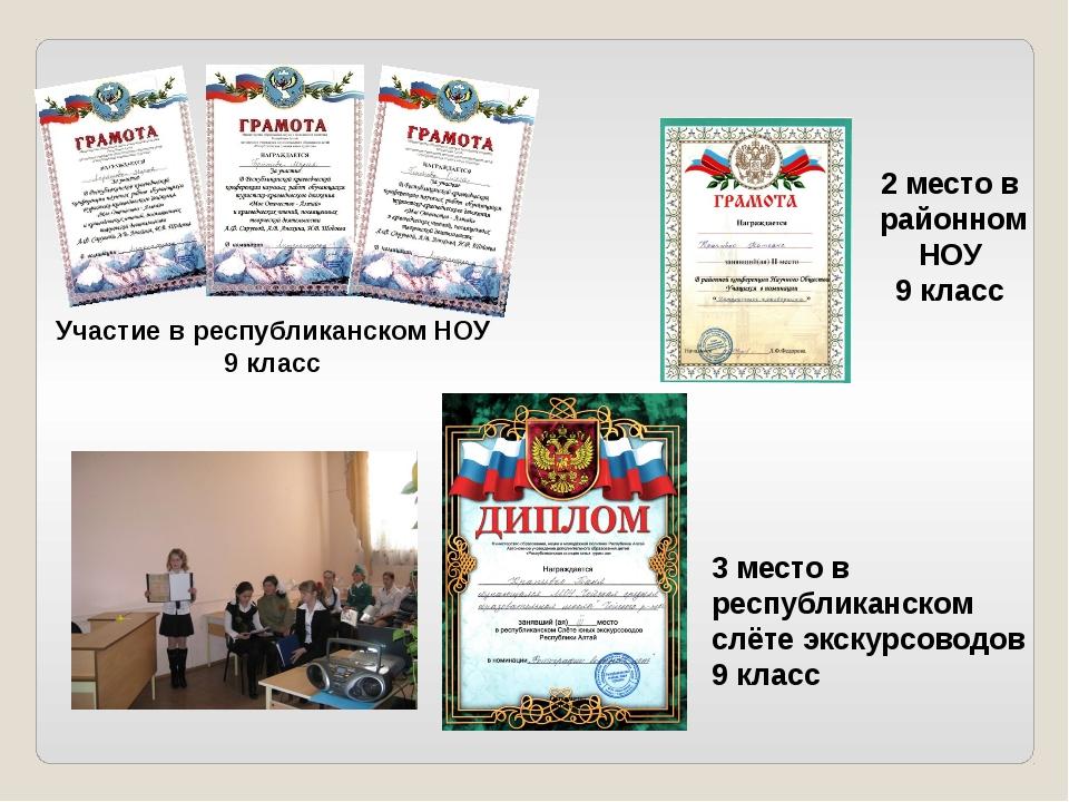 Классный руководитель Атаманова И.В. Участие в республиканском НОУ 9 класс 2...