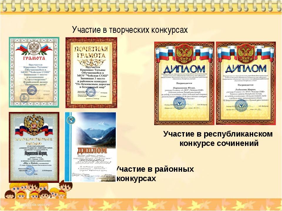 Классный руководитель Атаманова И.В. Участие в творческих конкурсах Участие...