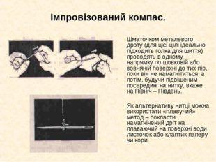 Імпровізований компас.  Шматочком металевого дроту (для цієї цілі ідеально п