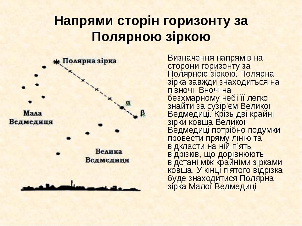 Напрями сторін горизонту за Полярною зіркою Визначення напрямів на сторони г...