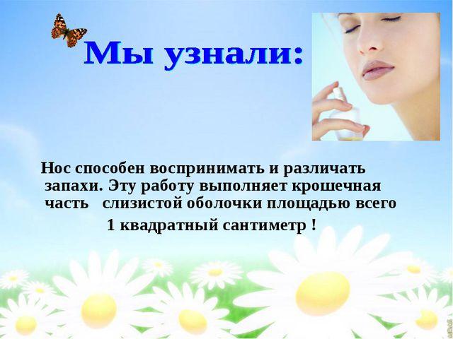 Нос способен воспринимать и различать запахи. Эту работу выполняет крошечная...