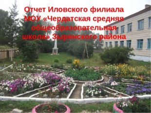 Публичный отчет по итогам работы Иловского филиала МОУ «Чердатская средняя о