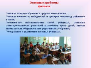 Основные проблемы филиала низкое качество обучения в среднем звене школы; низ