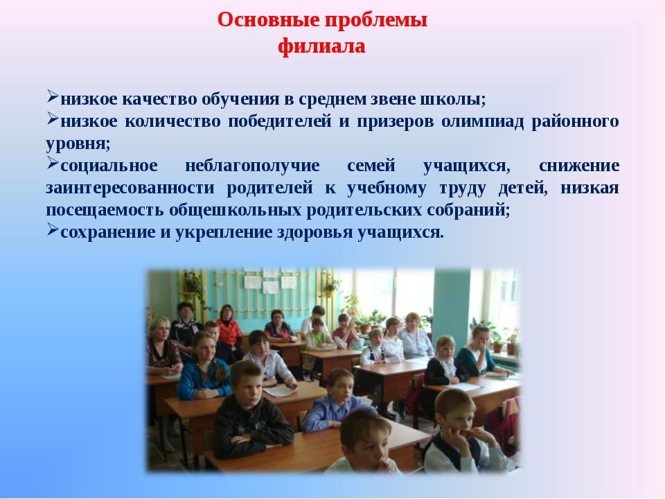 Основные проблемы филиала низкое качество обучения в среднем звене школы; низ...