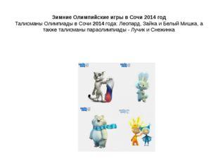 Зимние Олимпийские игры в Сочи 2014 год Талисманы Олимпиады в Сочи 2014 года
