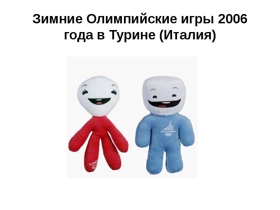 Зимние Олимпийские игры 2006 годав Турине (Италия)