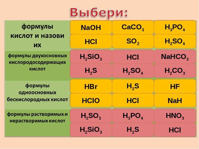 NaОH HCl CaCO3 SO2 H3PO4 H2SO4 HCl H2SiO3 H2S H2SO4 H2СО3 NaHCO3 HBr H2S HCl...