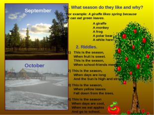 September October 1. What season do they like and why? For example: A giraffe