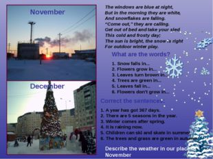 November December Correct the sentences: 1. A year has got 367 days. 2. There