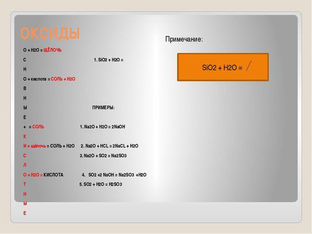 ОКСИДЫ Примечание: О + Н2О = ЩЁЛОЧЬ С 1. SiO2 + H2O = Н О + кислота = СОЛЬ +...