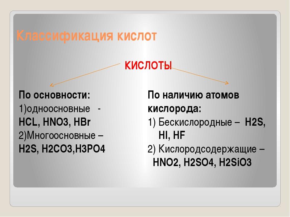 Классификация кислот КИСЛОТЫ По основности: 1)одноосновные - HCL, HNO3, HBr 2...