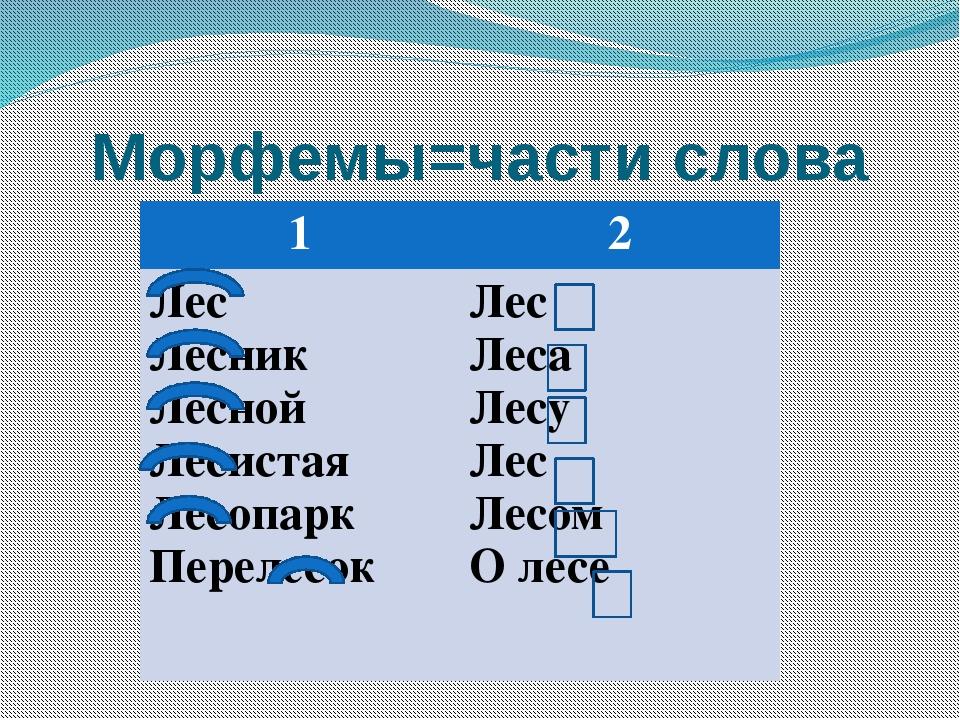 Морфемы=части слова 1 2 Лес Лесник Лесной Лесистая Лесопарк Перелесок Лес Ле...
