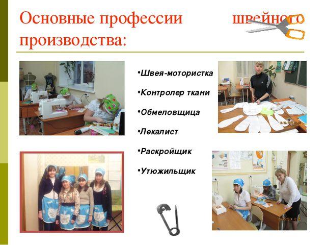Основные профессии швейного производства: Швея-мотористка Контролер ткани Обм...