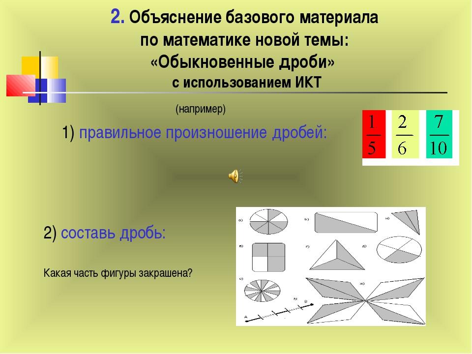 2. Объяснение базового материала по математике новой темы: «Обыкновенные дроб...