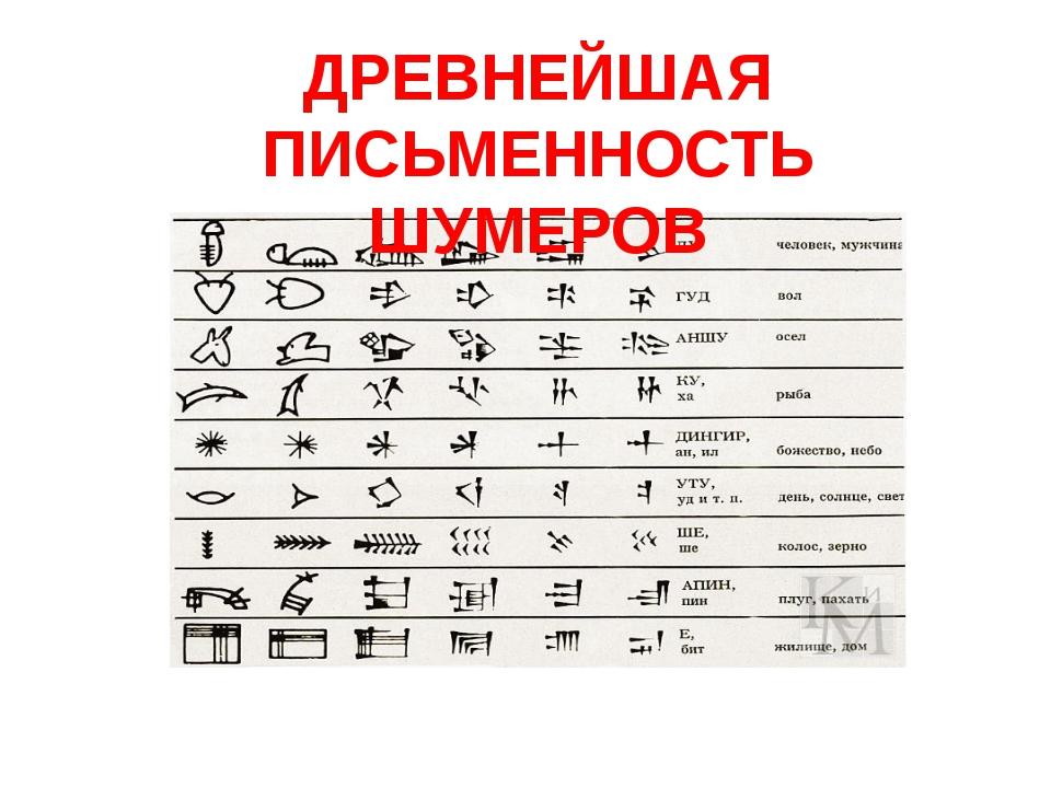 ДРЕВНЕЙШАЯ ПИСЬМЕННОСТЬ ШУМЕРОВ