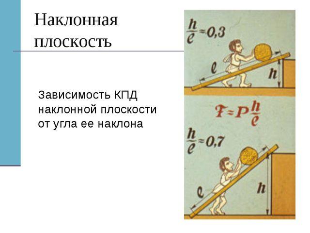 Наклонная плоскость Зависимость КПД наклонной плоскости от угла ее наклона