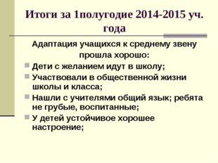 Итоги за 1полугодие 2014-2015 уч. года Адаптация учащихся к среднему звену пр