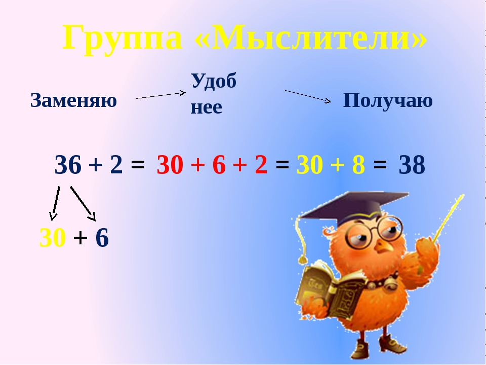 36 + 2 = 30 + 6 30 + 6 + 2 = 30 + 8 = Получаю Заменяю Удоб нее 38 Группа «Мыс...