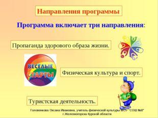 Туристская деятельность. Направления программы Программа включает три направл