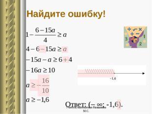 Ответ: ( ; -1,6). Найдите ошибку! Учитель математики Квашнина М.С. Учитель