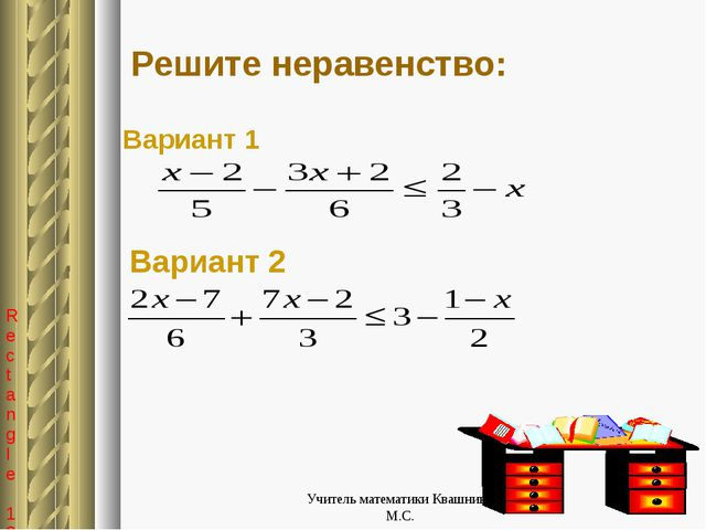 Решите неравенство: Вариант 1 Вариант 2 Учитель математики Квашнина М.С. Учи...