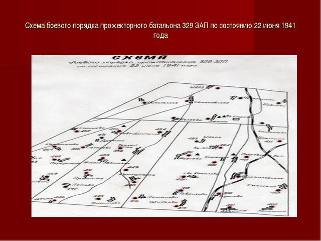 Схема боевого порядка прожекторного батальона 329 ЗАП по состоянию 22 июня 19...