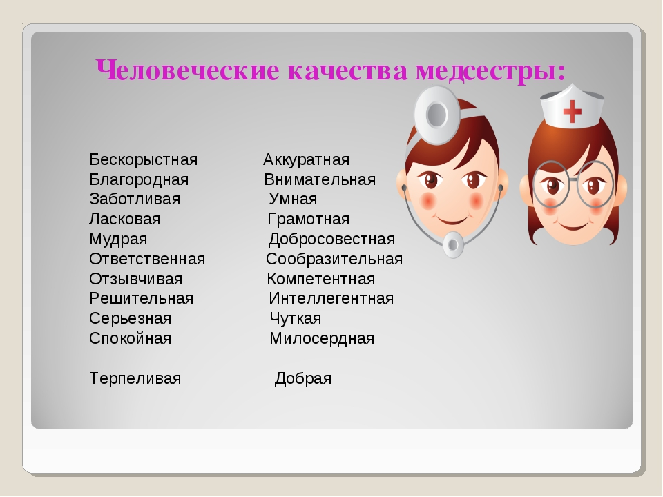 Человеческие качества медсестры: Бескорыстная Аккуратная Благородная Внимател...