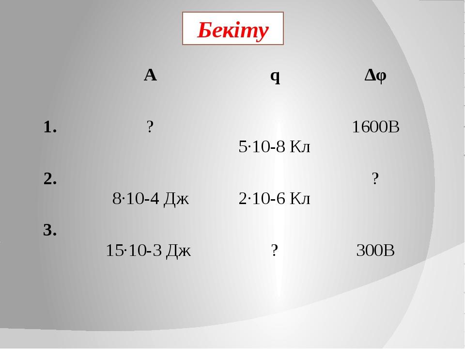 Бекіту А q ∆φ 1. ? 5·10-8Кл 1600В 2. 8·10-4Дж 2·10-6Кл ? 3. 15·10-3Дж ?...