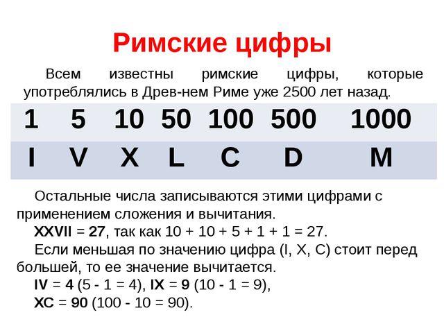 Римские цифры Всем известны римские цифры, которые употреблялись в Древнем Р...