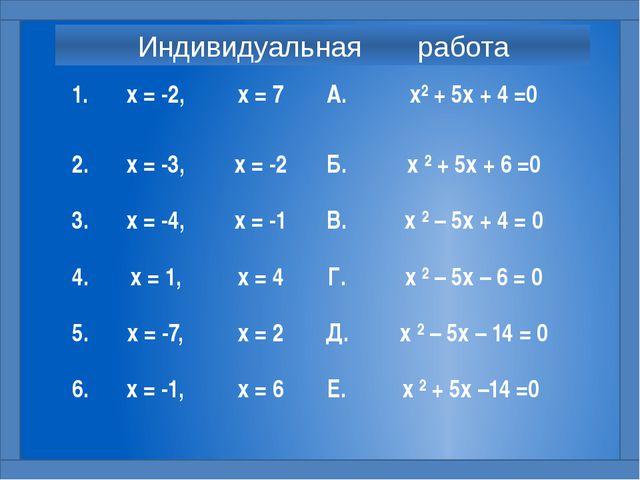 Индивидуальная работа 1. х = -2, х = 7 А. х²+ 5х + 4 =0 2. х = -3, х = -2 Б....