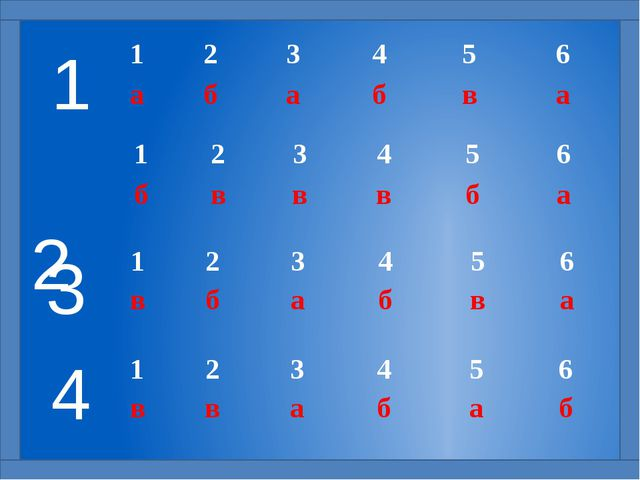 4 3 2 1 1 2 3 4 5 6 в в а б а б 1 2 3 4 5 6 в б а б в а 1 2 3 4 5 6 б в в в...