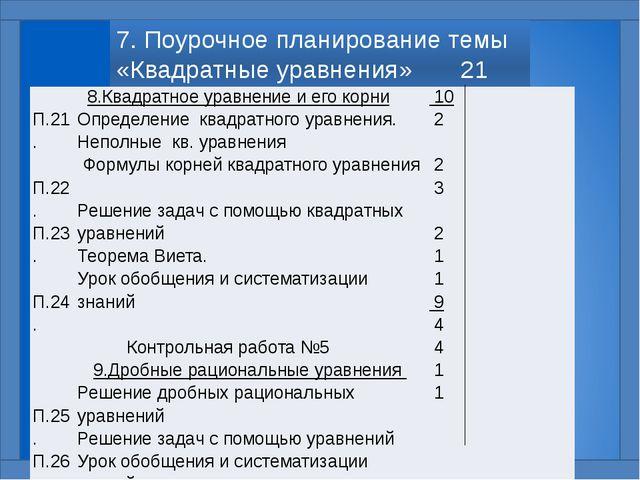 7. Поурочное планирование темы «Квадратные уравнения» 21 час П.21. П.22. П.23...