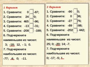 1 вариант 1. Сравните: 0 > -87; 2. Сравните: 24 > 0; 3. Сравните: 465 > -96;