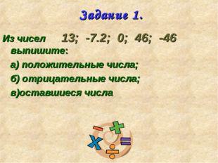 Задание 1. Из чисел 13; -7.2; 0; 46; -46 выпишите: а) положительные числа; б)