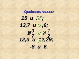 15 и 28; 13,7 и 8,6; и ; 12,3 и 12,29; -8 и 6. Сравнить числа: