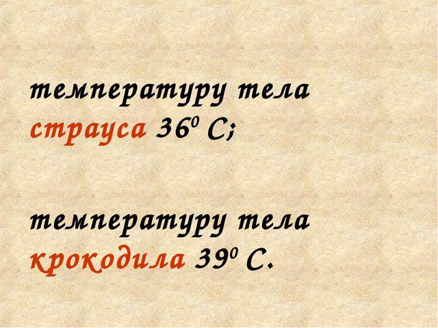 температуру тела страуса 360 С; температуру тела крокодила 390 С.