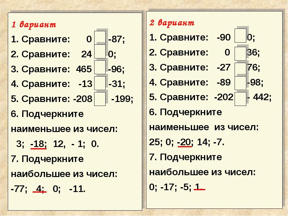 1 вариант 1. Сравните: 0 > -87; 2. Сравните: 24 > 0; 3. Сравните: 465 > -96;...
