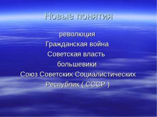 Новые понятия революция Гражданская война Советская власть большевики Союз Со