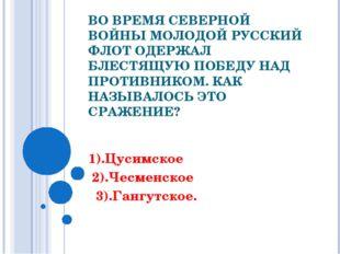 ВО ВРЕМЯ СЕВЕРНОЙ ВОЙНЫ МОЛОДОЙ РУССКИЙ ФЛОТ ОДЕРЖАЛ БЛЕСТЯЩУЮ ПОБЕДУ НАД ПРО