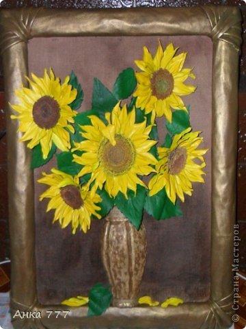 Картина, панно, рисунок Коллаж: Обьёмная картина из кожи Подсолнухи Бумага газетная, Кожа. Фото 1