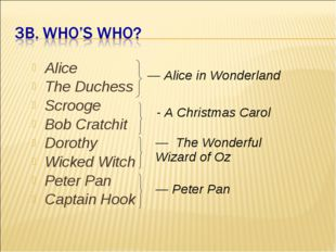 Alice The Duchess Scrooge Bob Cratchit Dorothy Wicked Witch Peter Pan Captain
