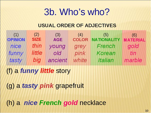 * gold tin marble (f) a funny little story (g) a tasty pink grapefruit (h) a...