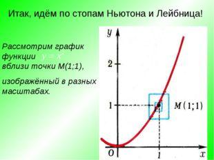 Итак, идём по стопам Ньютона и Лейбница! Рассмотрим график функции вблизи точ