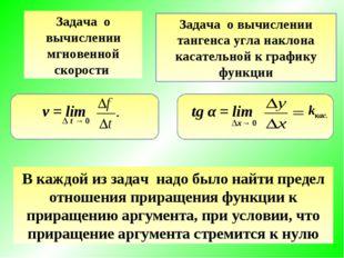 Задача о вычислении мгновенной скорости Задача о вычислении тангенса угла нак