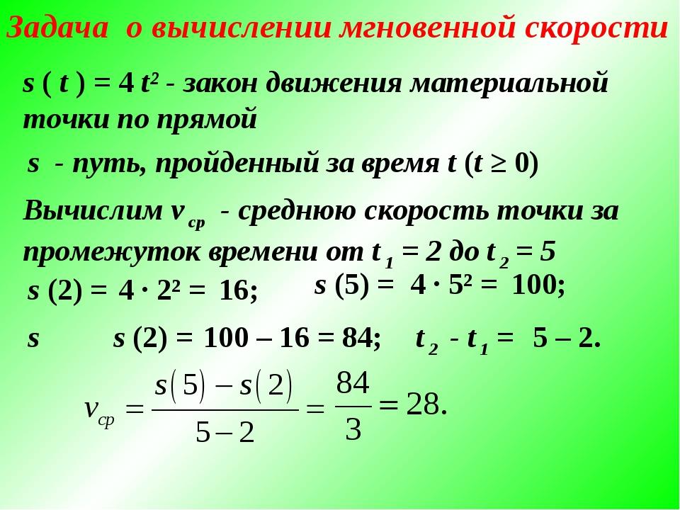 Задача о вычислении мгновенной скорости s ( t ) = 4 t² - закон движения матер...