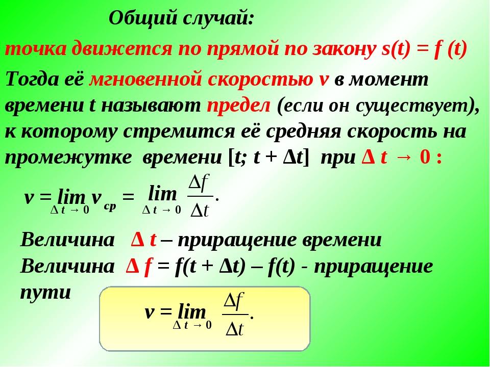 Общий случай: точка движется по прямой по закону s(t) = f (t) Тогда её мгнове...