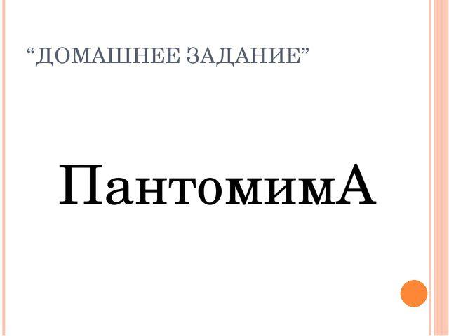 """""""ДОМАШНЕЕ ЗАДАНИЕ"""" ПантомимА"""