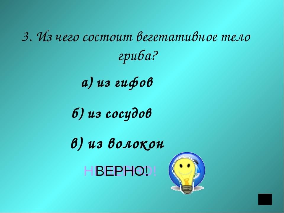 3. Из чего состоит вегетативное тело гриба? а) из гифов б) из сосудов в) из...